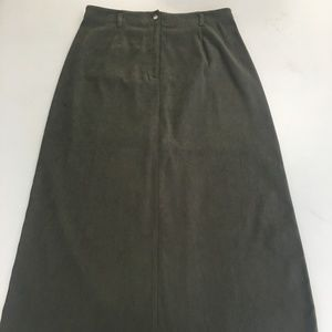 Army Green Talbots faux Suede 12P  Long Skirt  B21